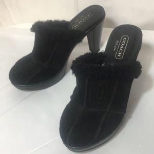 Coach black suede platform heel clog 6.5 fur trim
